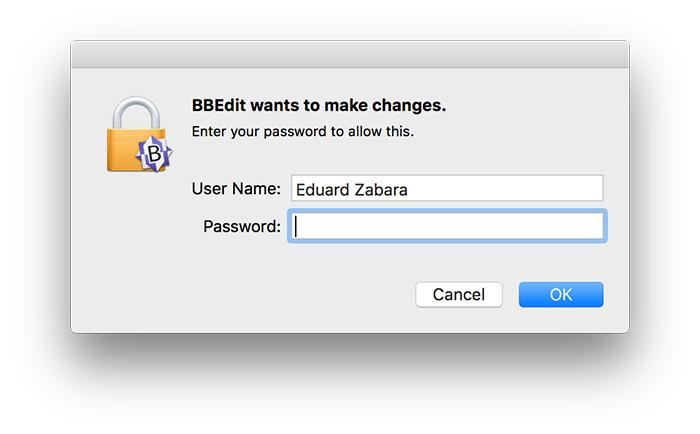 BBEdit vuole effettuare modifiche ad un file di sistema