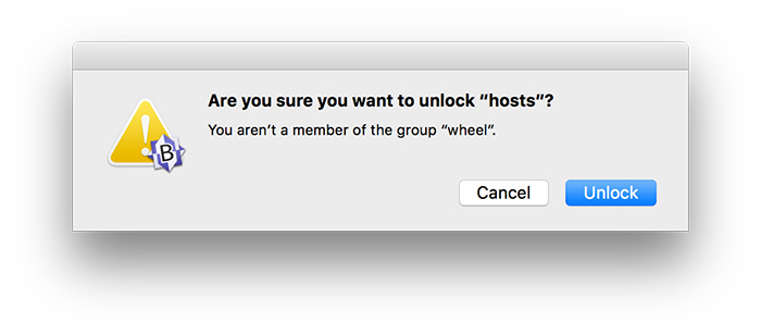Finestra di conferma per sbloccare il file hosts
