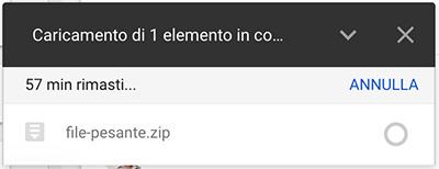 Google Drive caricamento in corso