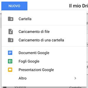 Google Drive carica nuovo file o cartella